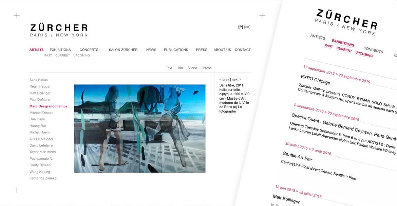 Site web Galerie Zurcher